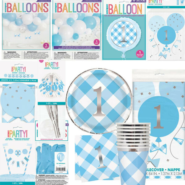 Blue First 1st Birthday Boy Party Decorations Balloons Tableware Plates Napkins