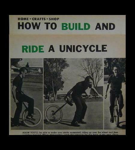UNICYCLE HowTo Build PLANS from junk bike Riding INFO $6.89