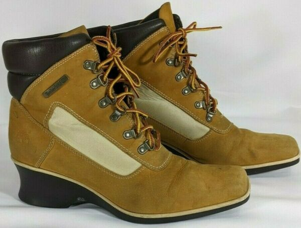 Timberland Womens Boots 9 M Suede Leather Brown Tie Up $35.25