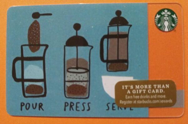 Starbucks gift card 2014 quot; POUR PRESS SERVE quot; NEW ☕ NO VALUE ☕COOL CARD