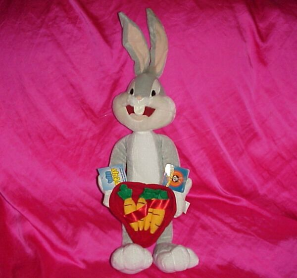 RARE NEW 22quot; LOONEY TUNES WB BUGS BUNNY W CARROTS VALENTINE#x27;S DAY PLUSH FIGURE $3.95