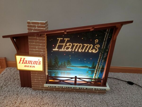 Vintage Hamm#x27;s Starry Night Goblets Lighted Motion Beer Sign Cabin Style Bar