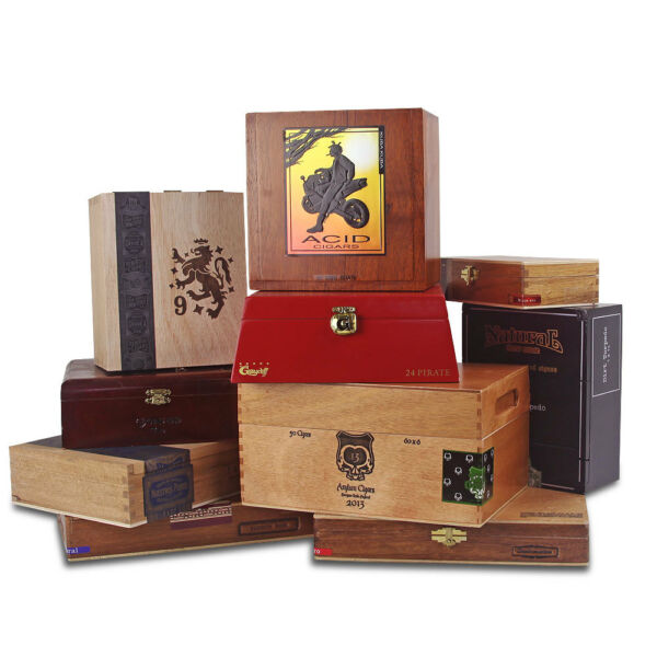 Empty Wooden Cigar Boxes Set of 10
