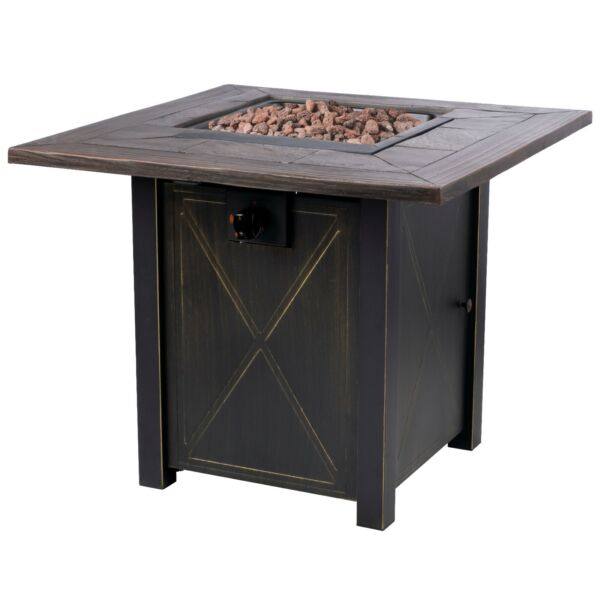 30quot; Gas Fire Table 50000 BTU Square Propane Fire Pit Table and Lava Rocks