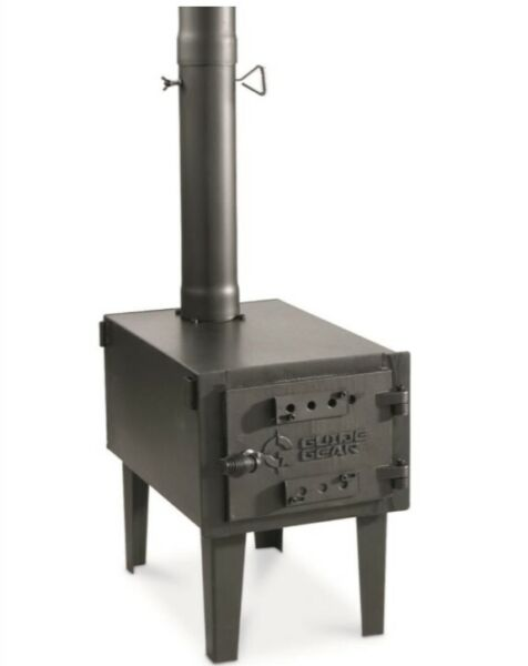 Guide Gear Portable Outdoor Wood Burning Stove Cast Iron Pipe Steel For Camping $127.39