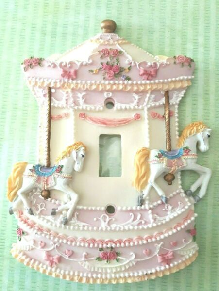 Carousel Light Switch Cover 3D Nursery Two White Horses Pink Roses NIB She Shed