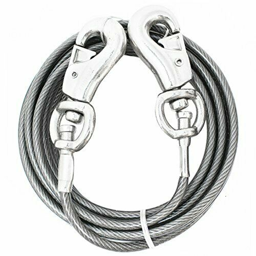 20 ft Heavy Duty Beast Large Dog Out Cable Pet Tie Steel Strong Long Leashes Run $32.20