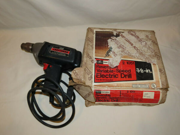 SEARS CRAFTSMAN Electric 3 8 Inch Drill with Chuck and Chuck Key Variable Speed