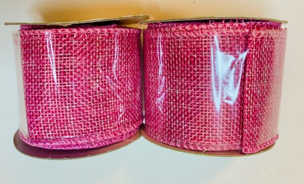 NEW BABY PINK 2quot; WIRE EDGED BURLAP RIBBON 9 FEET TOTAL