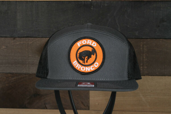 Vintage Ford Bronco logo patch on a Richardson 168 Trucker Snapback Hat