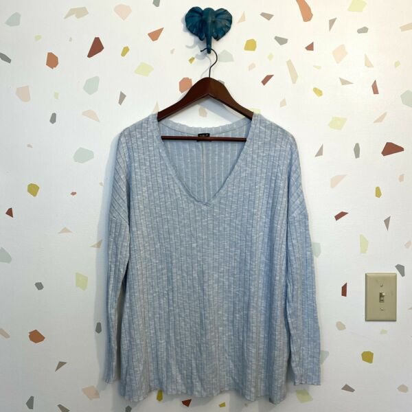 Out From Under Small Urban Outfitters Light Sky Blue Ribbed Knit Casual Top $20.85