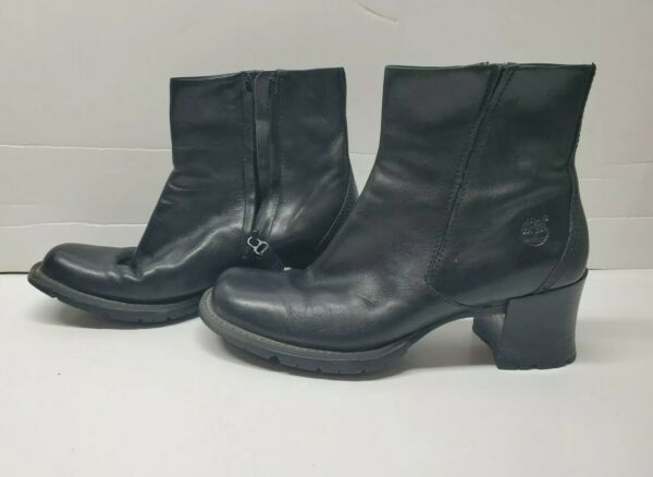 Timberland womens boots 6.5M Alyse ankle bootie Black leather heels zipper 21304 $29.99