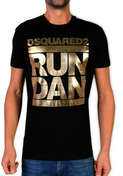 DSQUARED T SHIRT BLACK RUN DAN GOLD LOGO CREW NECK TOP COTTON $39.00