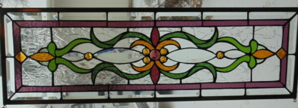Stained Glass Transom window hanging 32 1 4 X 11 Brass frame edging