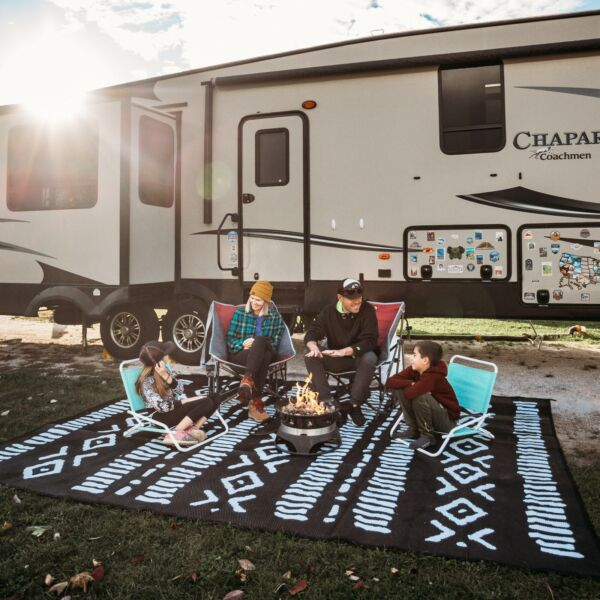 Camping rug for outside your RV Outdoor Patio 5x8 Black and white tribal mat