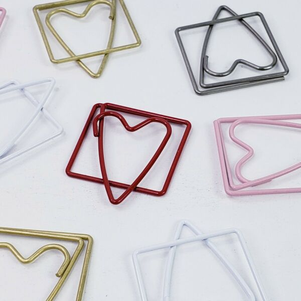 10 Heart Shaped Paper Clips Fasteners Clip 5Clrs Metal Embellishments Cardmaking