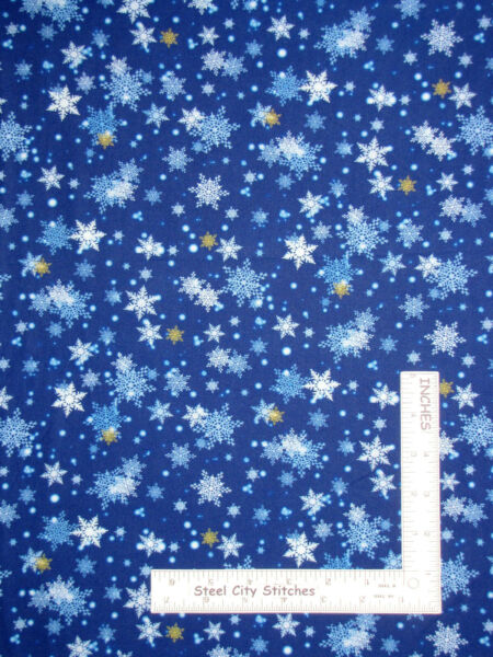 Christmas Gifts From Santa Snowflakes Snow Blue Cotton Fabric QT By The Yard