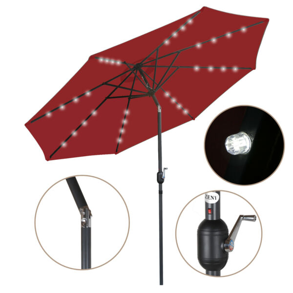 Patio with Push Button 10ft Solar Umbrella 24 LED Lighted Tilt Crank Outdoor $56.99