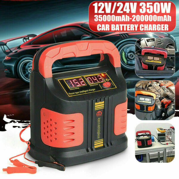350W Heavy Duty Smart Car Battery Charger Pulse Repair 12V 24V 3 Stage Charging $38.99