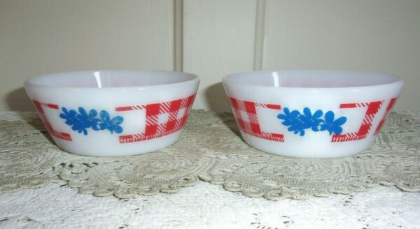 TWO Westfield Federal Red Checked Milk Glass Cereal Bowls with Blue Flowers