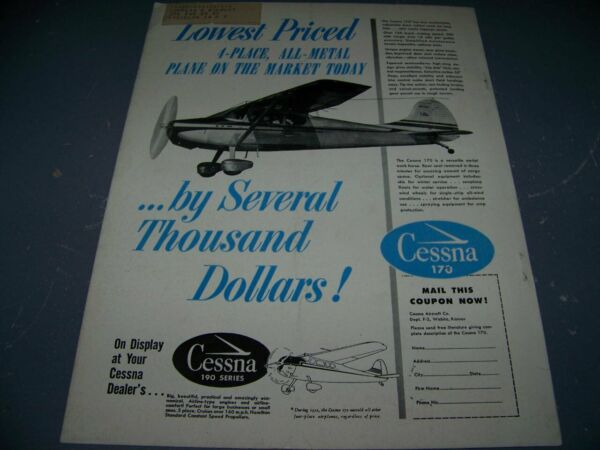 1951 CESSNA 170 quot;LOWEST COST 4 PLACE ALL METALquot;..1 PAGE SALES AD 668X $7.99