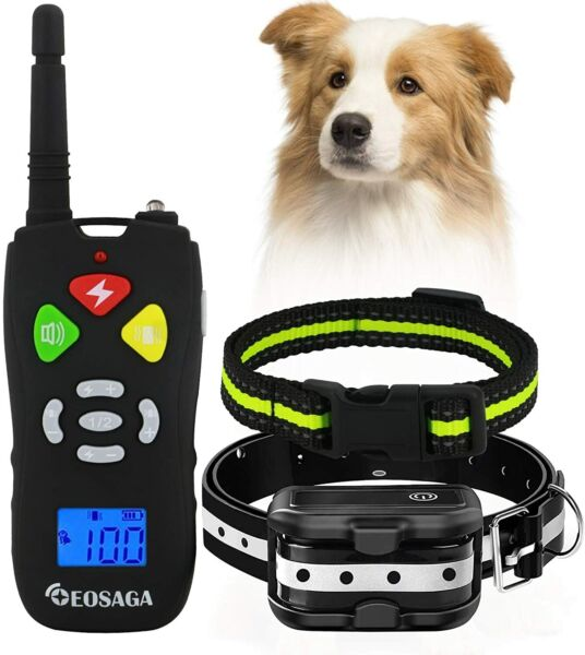 Rechargeable Electric Dog Shock IPX7 Waterproof Training Collar Remote 1600ft