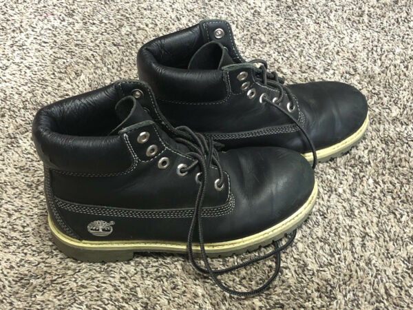 Timberland Boys Youth Size 2.5 Waterproof Black Boots Genuine Leather Shoes $19.99