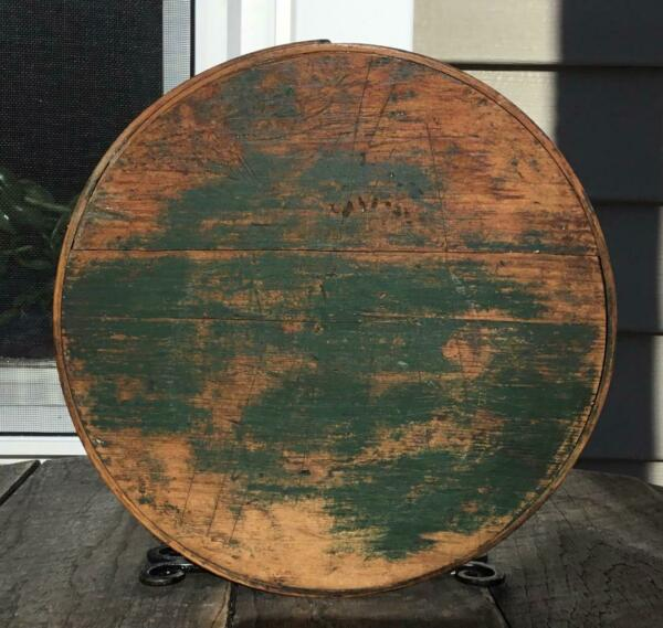 Antique Prim Wooden Old Paint Green Blue Firkin Pantry Box LID ONLY 9 5 8quot;Dia