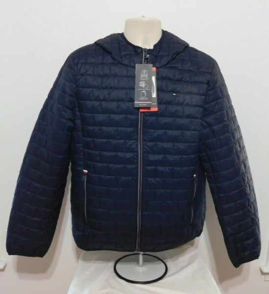 Tommy Hilfiger Mens Quilt Lined Jacket Packable Size MEDIUM BLUE Hooded NEW $39.99