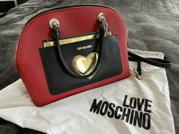 Love Moschino Red Black and Gold Heart Leather Womens Bag 100% Authentic $180.00