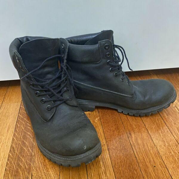 Timberland Size 9 M Mens Genuine Leather Shoes 6quot; Premium Waterproof Black Boots $48.00