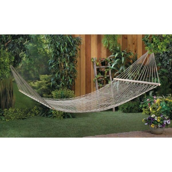 Extra Wide XL White Cotton Rope Mesh Net 2 Person Double Hammock Swing 440 lbs $53.77