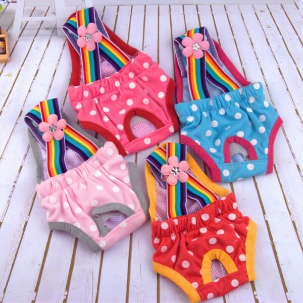 Dog Female Puppy Polka Dots Suspender Diaper Pants Physiological Sanitary Panty $10.33