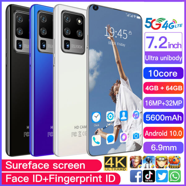 7.2 Inch Android Smartphone 4GB64GB 10 Dual SIM 10 Core 5600mAh Mobile Phone US