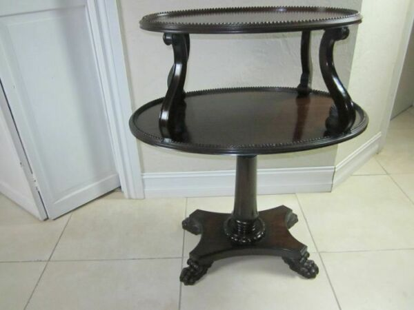 Vintage Dark Tone Wood Two Tier Accent End Side Table Claw Legs