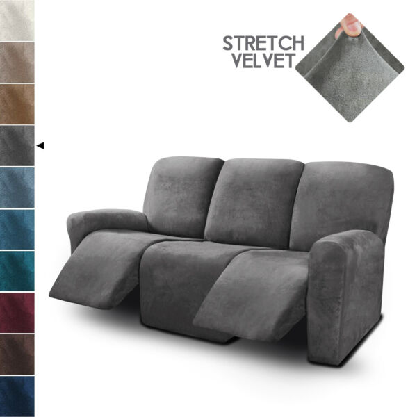 3 Seater Recliner Sofa Covers Velvet Stretch Reclining Couch Covers 8 Piece $59.99