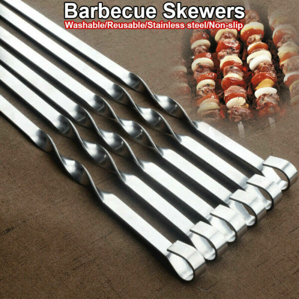 10Pack BBQ Barbeque Stainless Steel Shish Skewers Kebab Flat Long Grill Sticks