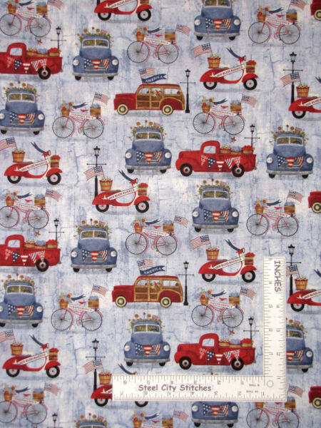 Patriotic Summer Truck Car Bike Blue Cotton Fabric by 3 Wishes By The Yard $9.43