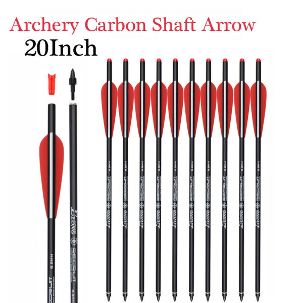 """Crossbow Bolts Carbon Shafts 20inch 4""""Vanes Half Moon Nocks and Removable Tips $34.19"""