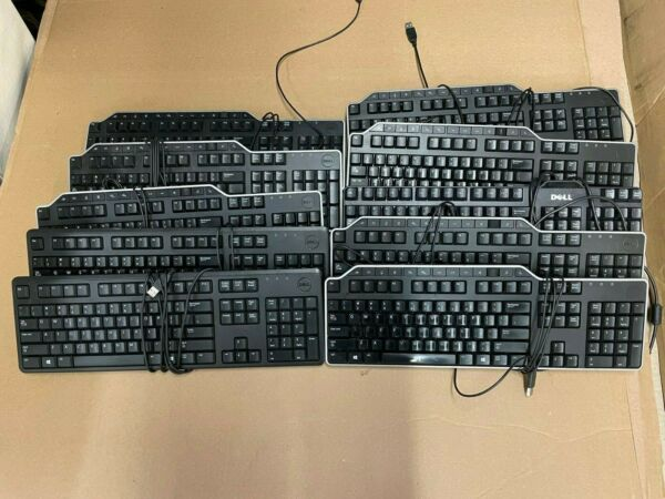 Lot of 10 Black Dell USB Keyboards