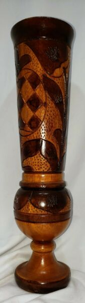 """Vintage Hand Carved Wooden Vase 10"""" Tall Light and Dark Colors of Natural Wood"""
