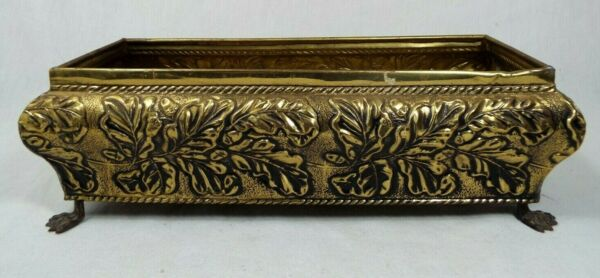 Vintage Brass Planter Box Claw Feet Footed Made in England Leaf Acorns Embossed