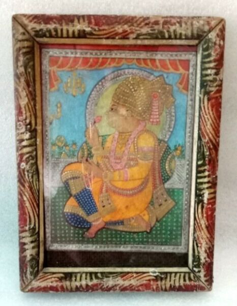 Antique Hindu Saint Silver And Gold Painting On Print Old Collectible $132.00