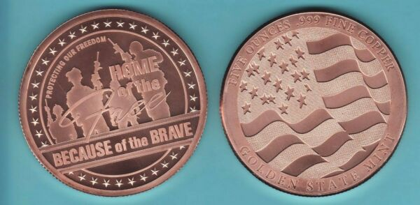 5 oz. HOME of the FREE Copper Round FREEDOM SERIES from GSM