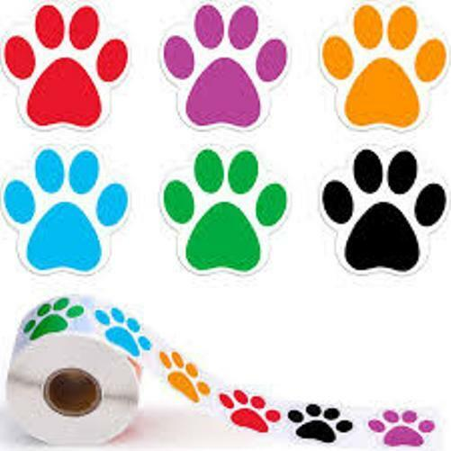 30 DOG PAW STICKERS ENVELOPE SEALS LABELS STICKERS 1quot; ROUND FAST SHIPPING $1.95