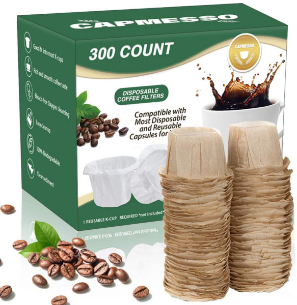 CAPMESSO Disposable Coffee Paper Filters Keurig Filter for Reusable Single Serv