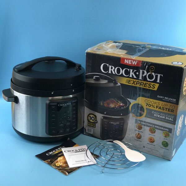 Crock Pot Express 10 Qt. Pressure Cooker XL Stainless Steel 2097588 #U9909