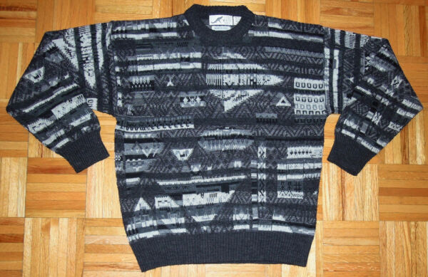 Sweater Abstract Wool Blend Cosby Biggie Coogi Style Les Mues Paris Japan Large $55.99