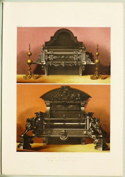 LARGE 1862 EXHIBITION PRINT FIRE GRATES BY MESSRS FEETHAM amp; CO