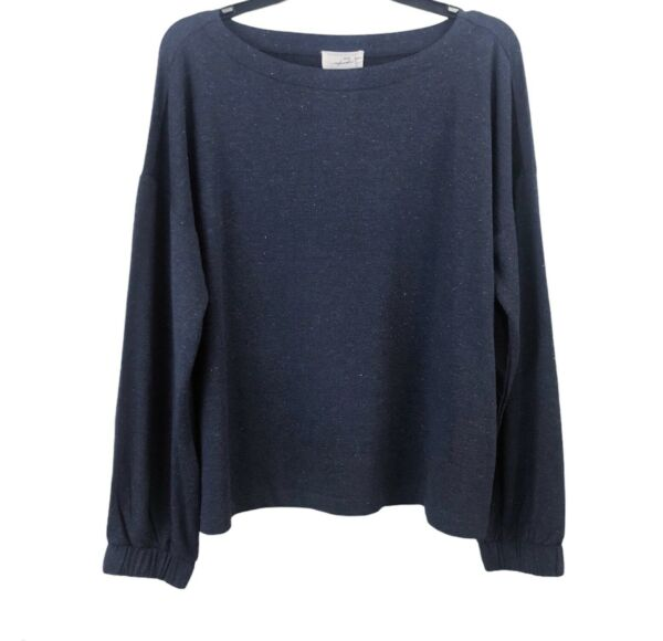 Soma Weekend Women#x27;s Large Soft Boatneck Pullover Top Heather Eclipse Blue NWT $32.99